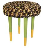 Handmade stool yellow and green. Round seat with brownish yellow. Handmade stool. Hand painted wooden chair legs yellow and green. Round seat covered with Stock Images