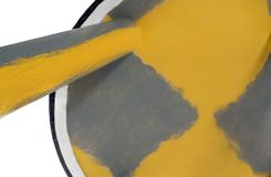 Handmade stool in yellow and gray with dark blue material. Royalty Free Stock Photos