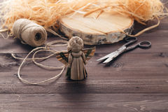 Handmade straw angel. Making of handmade straw angel on table Stock Photos
