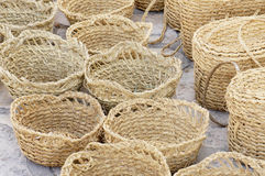 Handmade straw baskets Royalty Free Stock Image