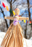 Handmade straw doll gift on the Shrovetide carnival Royalty Free Stock Images