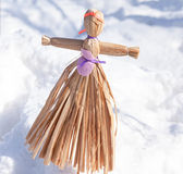 Handmade straw doll gift on the Shrovetide carnival Stock Photography