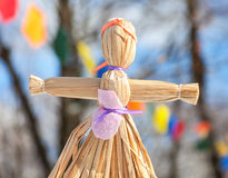 Handmade straw doll gift on the Shrovetide carnival Royalty Free Stock Photography