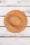 Handmade straw hat, top view. Royalty Free Stock Photos