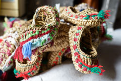 Handmade straw sandals Royalty Free Stock Image