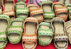 Handmade Straw Slippers Stock Photos