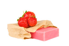 Handmade strawberries soap isolated Stock Photography