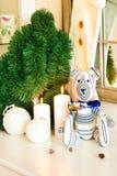 Handmade striped Провансалью игрушка медведя tilda на предпосылке рождества Стоковое Фото