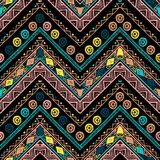 Stripes bright tribal seamless pattern with zigzag. Handmade stripes bright tribal seamless pattern with zigzag Royalty Free Stock Images