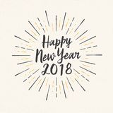 Handmade style greeting card - Happy New Year 2018. Stock Photography