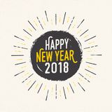 Handmade style greeting card - Happy New Year 2018. Royalty Free Stock Photo