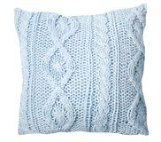 Handmade stylish light blue knitted pillow on a white background royalty free illustration