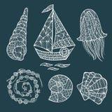 Handmade stylized set of zentangle. Stock Image
