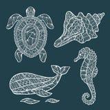 Handmade stylized set of zentangle Royalty Free Stock Photos
