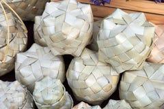 Handmade sugar palm leaf box Royalty Free Stock Photos