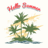 Handmade summer illustration with palm trees Stock Photo