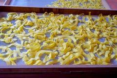 Handmade surowy świeży włoski organicznie jajeczny makaron, produkujący w Paraguay Zdjęcia Royalty Free