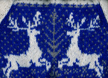 Handmade sweater with two reindeer. Royalty Free Stock Photo