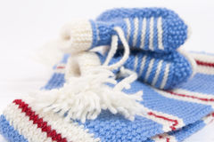 Handmade sweet baby booties  Stock Photography