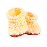 Handmade sweet baby booties isolated Stock Image