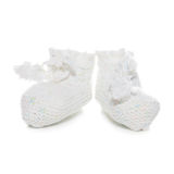 Handmade sweet baby booties isolated on a white Royalty Free Stock Photography