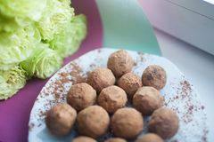 Handmade sweets on a white plate. Candy made from dates and cashews by hand on a white plate Royalty Free Stock Photo