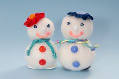 Handmade syntepon snowmans. Syntepon snowmans, New-year  post card Royalty Free Stock Image