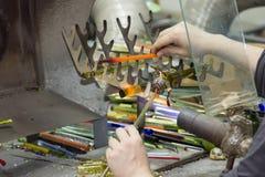 Handmade szklanego kreatywnie handwork figurek szklani narzędzia Fotografia Royalty Free