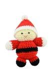 Handmade szydełkowy Święty Mikołaj na odosobnionym białym tle fotografia stock