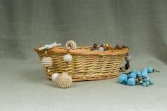 Handmade szydełkowa kolia z naturalnymi dennymi skorupami Zdjęcie Stock