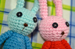 Handmade szydełkowe królik lale zdjęcia royalty free