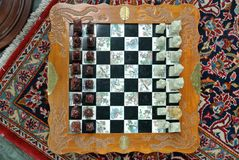 Table chess board. The handmade table chess board n Stock Photo