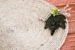 Handmade Table Mat of Jute Rope Twisted in a Spiral Form Stock Image