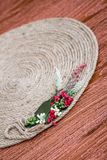 Handmade Table Mat of Jute Rope Twisted in a Spiral Form Stock Photos