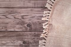 Handmade tablecloth right. Handmade tablecloth from right side wooden table top view. Food background Stock Images