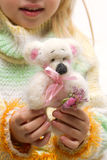 Handmade teddy bear in the hands Royalty Free Stock Image