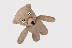 Handmade teddybear. With buttoneyes flying Stock Photos