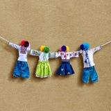 Handmade tekstylne lale na tle, tradycyjna ukraińska ludowa gałganiana lala Motanka w etnicznym stylu, antyczny kultura lud Fotografia Stock