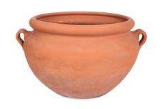 Handmade terracotta, flower pot. Single terracotta flower pot handmade from pottery, isolated stock images