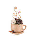 Handmade textile coffee cup. Royalty Free Stock Photography