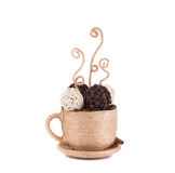 Handmade textile coffee cup. Stock Photography