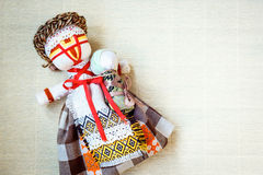 Handmade textile doll, rag doll 'Motanka' in ethnic style, ancient culture folk crafts tradition of Ukraine. Stock Image