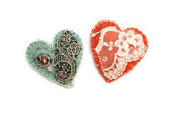 Handmade textile heart Stock Photography