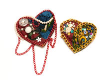 Handmade textile heart Stock Images