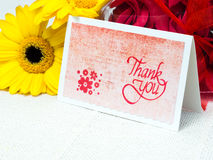 Handmade thank you card with flowers Stock Photo