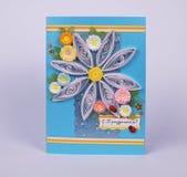 Handmade thank you postcard with chamomiles stock photography