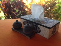 Handmade tissue box and kitchen utensil on the table royalty free stock image