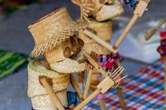 Handmade tkactwa bambusowy kosz Stosował bawić się zabawkę Obrazy Royalty Free