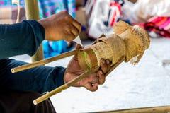 Handmade tkactwa bambusowy kosz Stosował bawić się zabawkę Obraz Stock