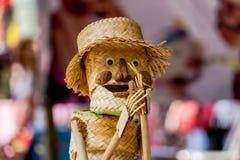 Handmade tkactwa bambusowy kosz Stosował bawić się zabawkę Zdjęcia Stock